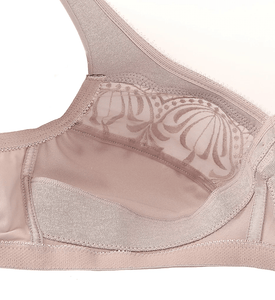 Glamorise TAUPE Magic Lift Embroidered Full Figure Wireless Bra, US 48D, UK 48D