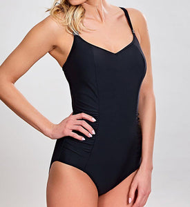 Panache BLACK Anya Bra-Sized Balconnet One-Piece Swimsuit, US 34DD - racks-op
