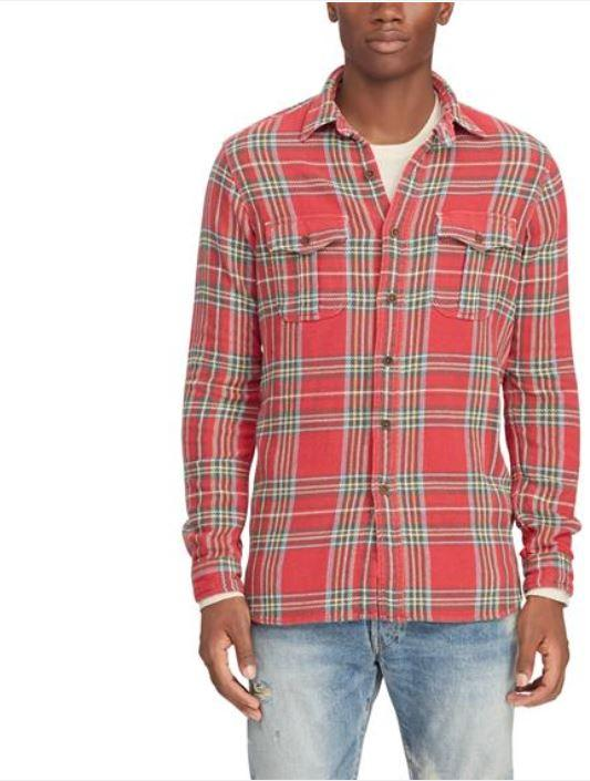 Ralph Lauren Men's Red Plaid Flannel Shirt, Large