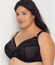 Load image into Gallery viewer, Glamorise BLACK Plus Size Elegance Lace Wonderwire Bra, US 48DD, UK 48DD