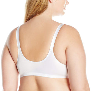 Bali WHITE Double Support Front-Close Wire-Free Bra, US 44B, UK 44B - racks-op
