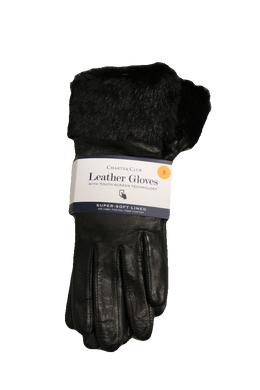 Charter Club Women's Faux Fur-Cuff Leather Tech Gloves, Size S