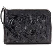 Load image into Gallery viewer, Patricia Nash Cassini Tooled Wristlet Black One Size