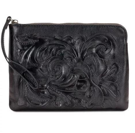 Patricia Nash Cassini Tooled Wristlet Black One Size