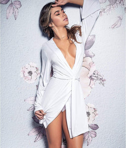 Mapalé WHITE Bride Robe & Panty Set, US Small - racks-op