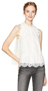 Joie PORCELAIN Marineth Lace Blouse Top, US X-Small