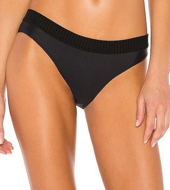 PilyQ BLACK Midnight Elastic Banded Teeny Bikini Swim Bottom, US Large
