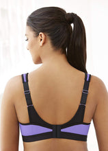 Load image into Gallery viewer, GLAMORISE Black/Purple Full Figure High Impact Sports Bra, US 38D, UK 38D, NWOT