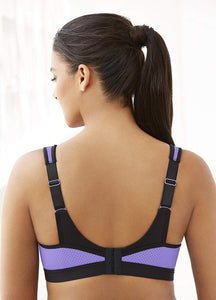 GLAMORISE Black/Purple Full Figure High Impact Sports Bra, US 38D, UK 38D, NWOT