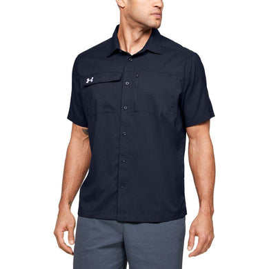 Under Armour MIDNIGHT NAVY Team Motivate Button Up Short Sleeve Shirt, US Large