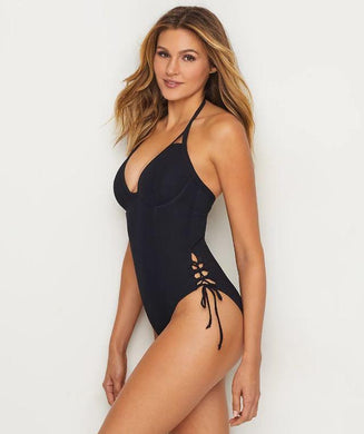 MISS MANDALAY BLACK ICON PLUNGE ONE-PIECE SWIM SUIT, SIZE US 34FF - racks-op