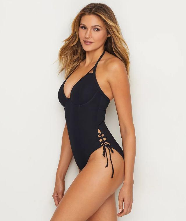MISS MANDALAY BLACK ICON PLUNGE ONE-PIECE SWIM SUIT, SIZE US 30E - racks-op