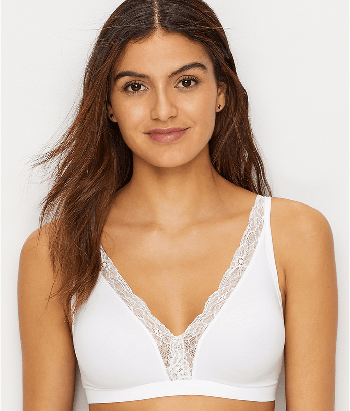 Hanro WHITE Cotton Lace Wire-Free Bra, US 34C - racks-op