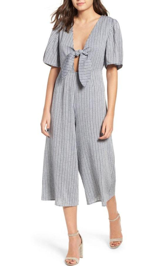 Mink Pink Women's Grey Stepping Out Jumpsuit, Large