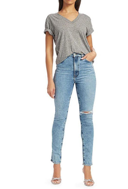 J Brand Women's Blue High-Rise Distressed Slim-Straight Jeans, 24