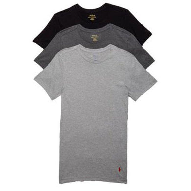 POLO RALPH LAUREN BLACK/GREY COMBO CLASSIC FIT COTTON T-SHIRT 3-PACK, SIZE SMALL NWOT