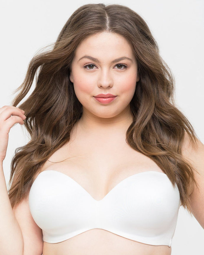 Curvy Couture WHITE Smooth Multi-Way Strapless Bra, US 36DDD - racks-op