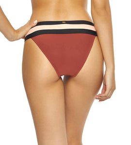 PilyQ PAPAYA Banded Hipster Bikini Swim Bottom, US Small