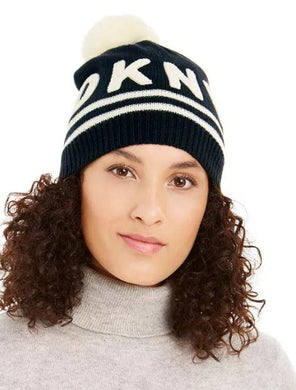 DKNY Black, White Varsity Letter Beanie with Pom, One size