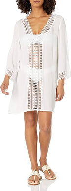 Anne Cole WHITE Flounce V Neck Solid Tunic Swim Cover Up, US Medium