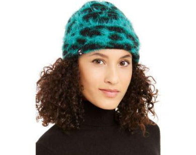 DKNY Green/Black Fuzzy Animal Print Beanie One Size
