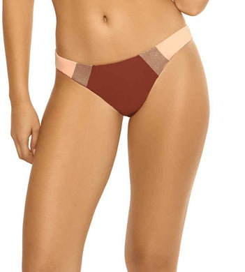 PilyQ MULTI Papaya Color Block Full Bikini Swim Bottom, US Small