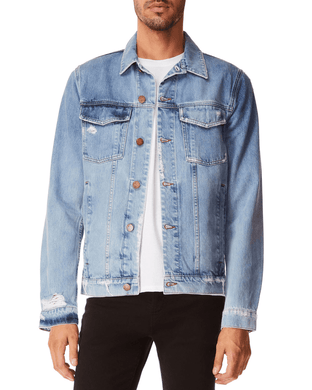 J Brand BLUE Acamar Distressed Denim Jacket, US Medium