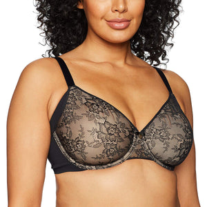 Curvy Couture BLACK Flawless Lace Side Smoother Bra, US 38G, UK 38F - racks-op
