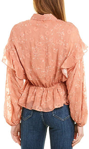 Joie PINK Casha Silk-Blend Blouse, US Medium