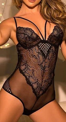 Mapalé BLACK Open-Back Sheer Teddy, US XLarge - racks-op