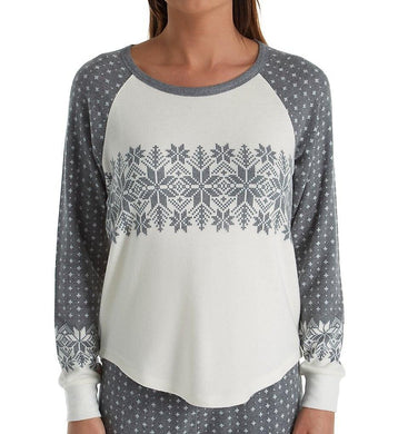 P.J. Salvage CHARCOAL Snowed In Knit Pajama Top, US Small