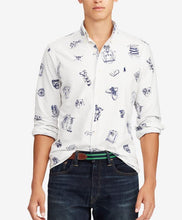 Load image into Gallery viewer, Ralph Lauren Polo Men's White Cotton Preppy Icons Print Shirt, Large