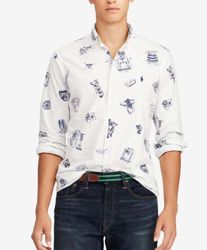 Ralph Lauren Polo Men's White Cotton Preppy Icons Print Shirt, Large