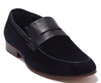 Zanzara NAVY Levine Suede Penny Loafer Shoes, US 9