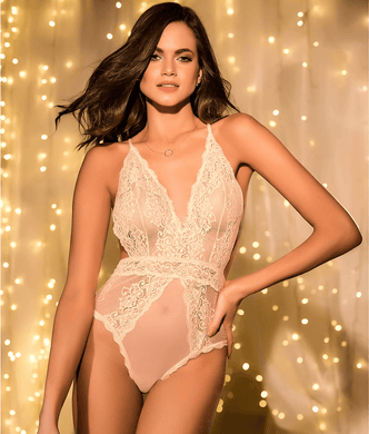 Mapalé PALE PEACH IVORY Cross Back Lace Teddy, US Medium/Large - racks-op