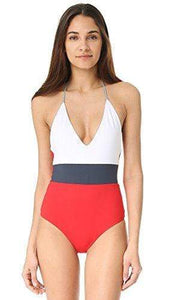 Tavik White/Blue/Red Chase One-Piece Swim Suit, Size L - racks-op