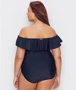 Raisins Curve BLACK Plus Size Marrakesh Solid Caicos One-Piece Swimsuit, US 14W