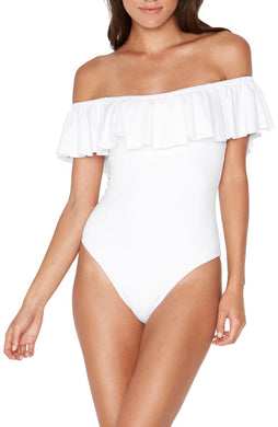 L Space WHITE Ruffles Kimora Flounce Bandeau One Piece Swimsuit, US 12