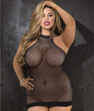 Shirley of Hollywood BLACK Plus Size Halter Fishnet Chemise, US One Size - racks-op
