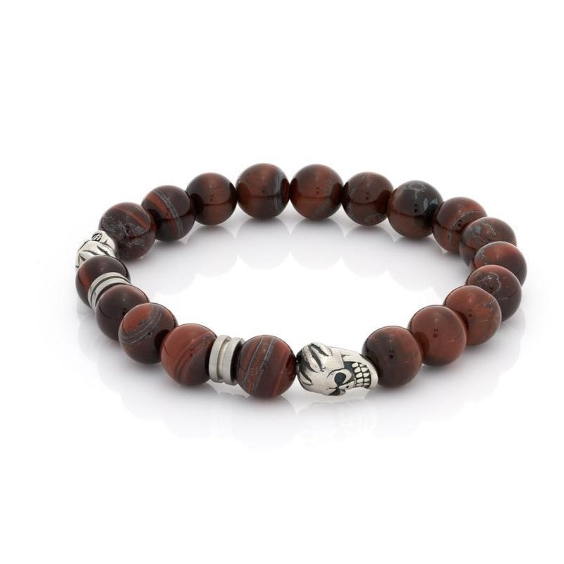 Red Tiger Eye Skull Bracelet