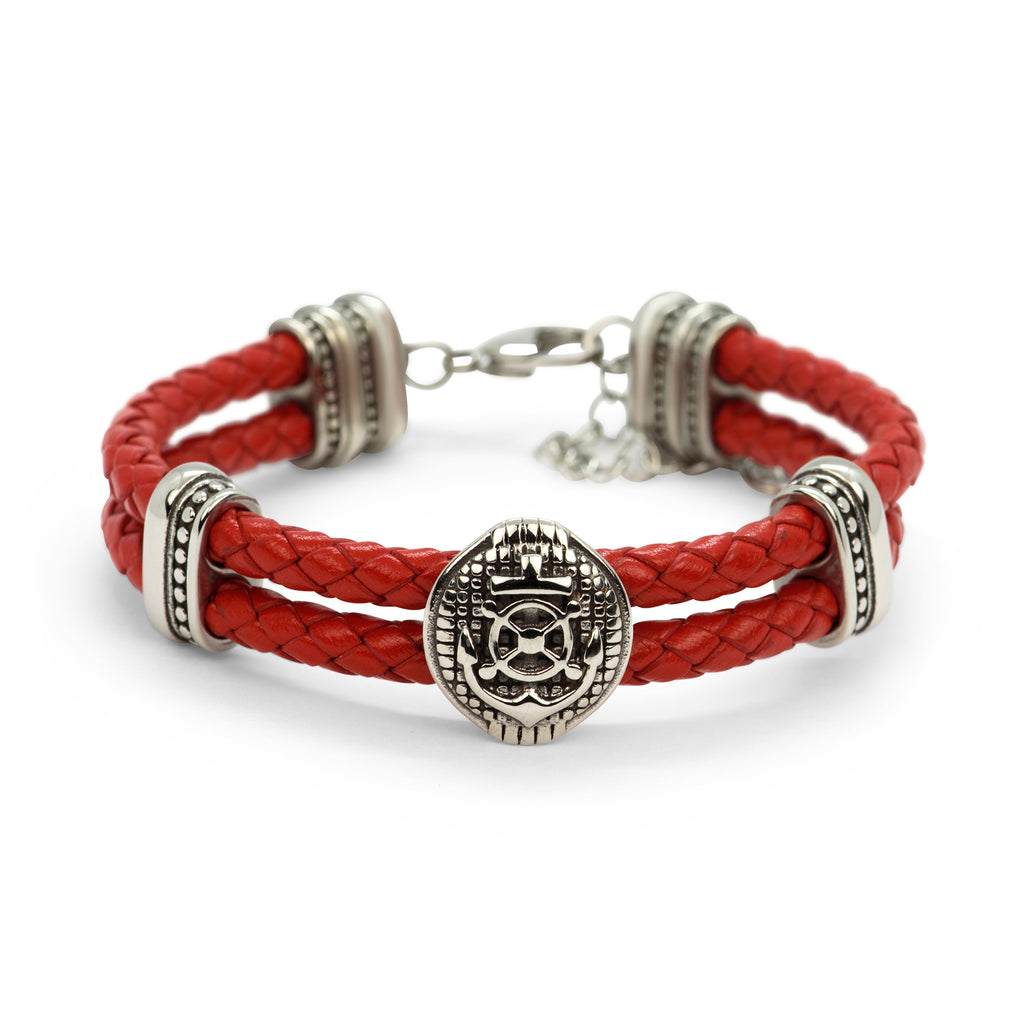 Braided Leather Rudder & Anchor Charms Bracelet