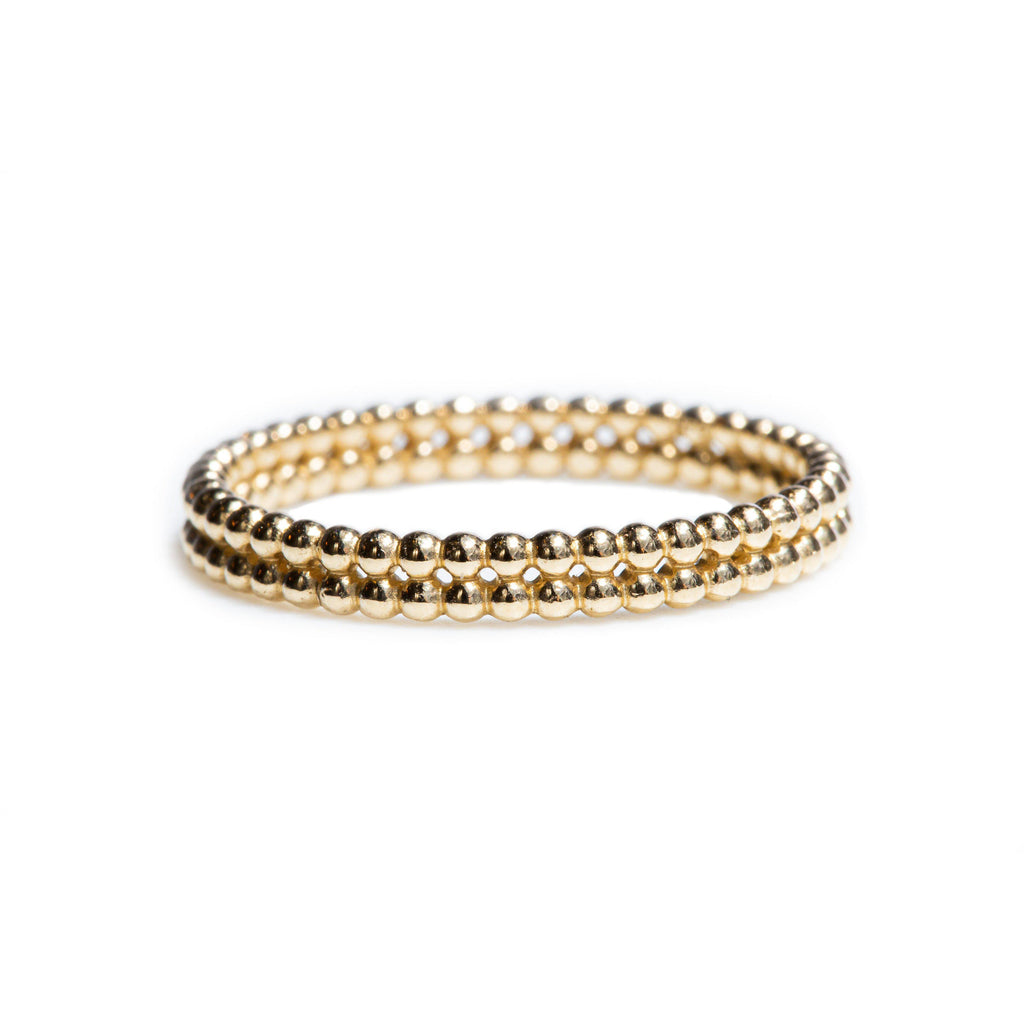 Double Row Beaded Yellow Gold Ring