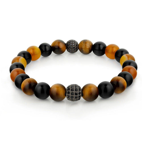 Tiger Eye and Onyx Multicolour Beaded Bracelet