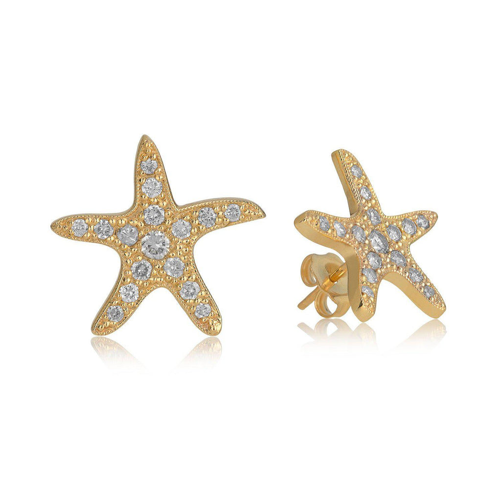 Yellow Gold Diamond Star Stud Earrings