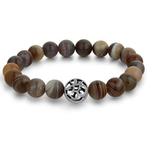 Botswana Agate Beaded Bracelet with Om Symbol