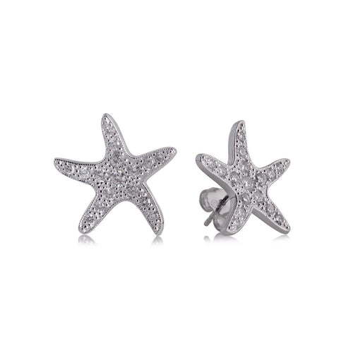 White Gold Sea Star Diamond Stud Earrings