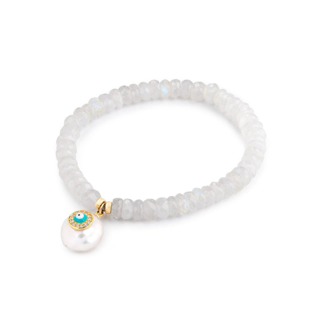 Moonstone Beaded Bracelet With Charm