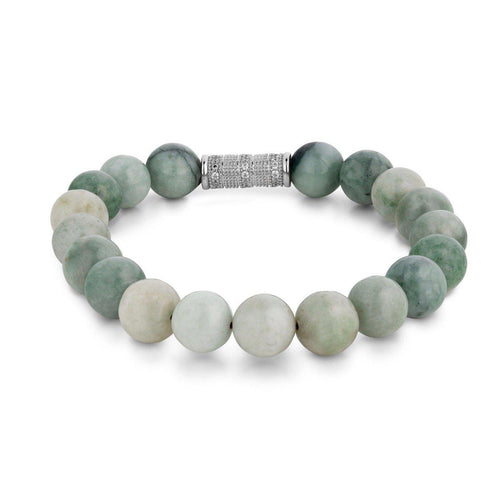 Burma Jade Beaded Bracelet With Micro Pavé Charm