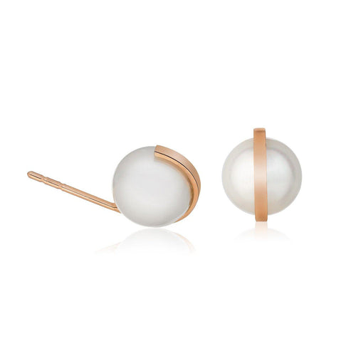 Pink Gold Pearl Stud Earrings