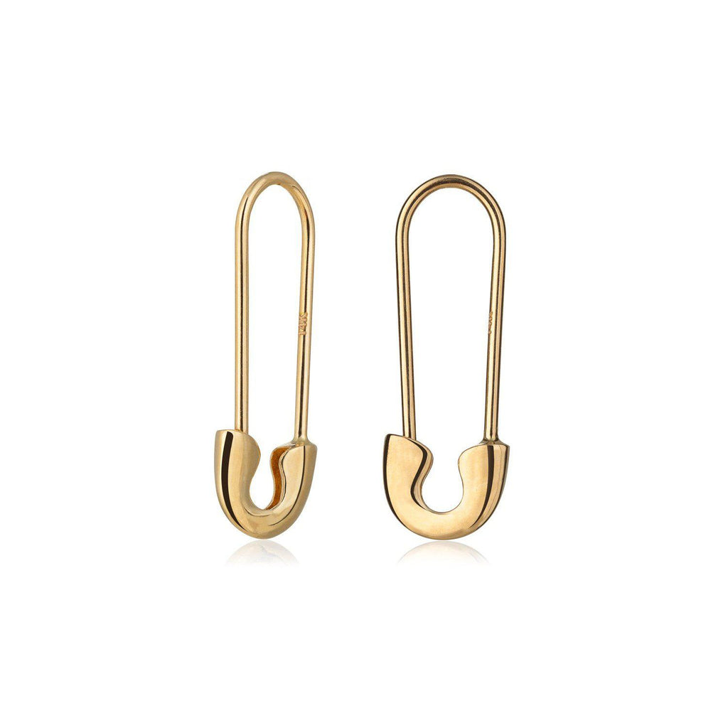 Safety Pin Yellow Gold Drop Earrings